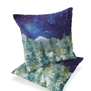 Majestic Forest Dark Blue Sky Pillow, Forest Nursery Decor
