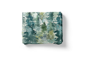 Dark Blue Sky Forest Personalized Minky Blanket, Woodland Nursery Bedding - Majestic Forest