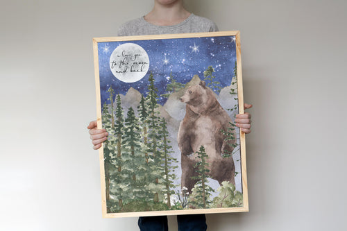 I Love You to The Moon and Back Bear Printable Wall Art, Woodland Nursery Print - Forest Mist