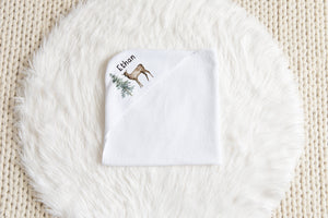 Forest Personalized Hooded Baby Towel, Woodland Baby Boy Towel - Enchanted Forest