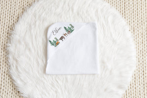 Forest Personalized Hooded Baby Towel, Woodland Baby Boy Towel - Little Explorer