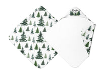 Load image into Gallery viewer, The Forest Pine Trees Personalized Hooded Baby Towel, Forest Baby Boy Towel