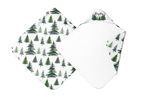 Pine Trees Personalized Hooded Baby Towel, Woodland Baby Boy Towel - The Forest