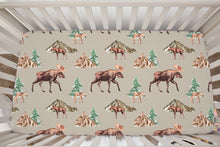 Load image into Gallery viewer, Moose and Trees Minky Crib Sheet, Woodland Nursery Bedding - Wild Moose