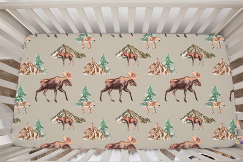 Wild Moose and Trees Minky Crib Sheet, Woodland Nursery Bedding
