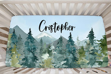 Load image into Gallery viewer, Blue Sky Forest Personalized Minky Crib Sheet, Wilderness Nursery Bedding - Majestic Forest