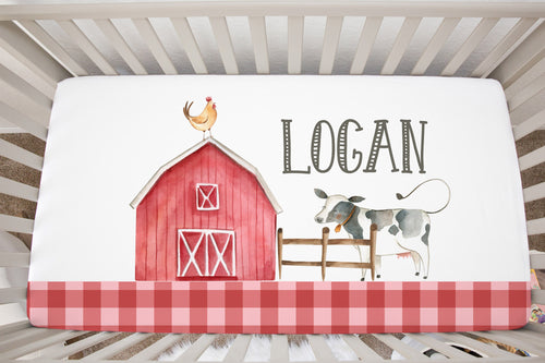 Logan's Farm Plain Border Personalized Minky Crib Sheet, Farm Nursery Bedding