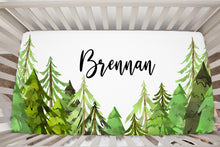 Load image into Gallery viewer, Coniferous Trees Personalized Crib Sheet, Forest Nursery Bedding - Into The Woods