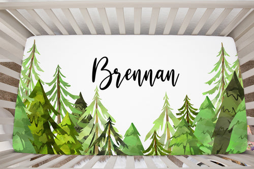 Into The Woods Coniferous Trees Personalized Crib Sheet, Forest Nursery Bedding
