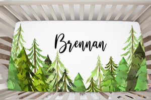 Coniferous Trees Personalized Crib Sheet, Forest Nursery Bedding - Into The Woods