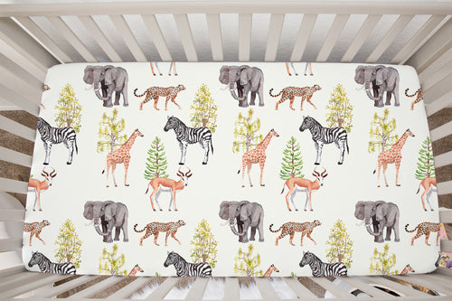 Savanna Animals Minky Crib Sheet, Safari Nursery Bedding - Savanna
