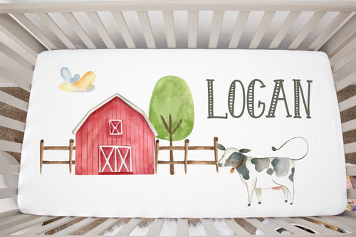 Logan's Farm Barn and Cow Personalized Minky Crib Sheet, Farm Nursery Bedding