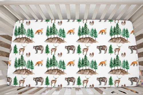 Wildlife Minky Crib Sheet, Woodland Nursery Bedding - Little Explorer