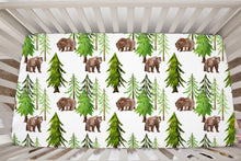 Load image into Gallery viewer, Into The Woods Coniferous Trees and Bear Crib Sheet, Forest Nursery Bedding