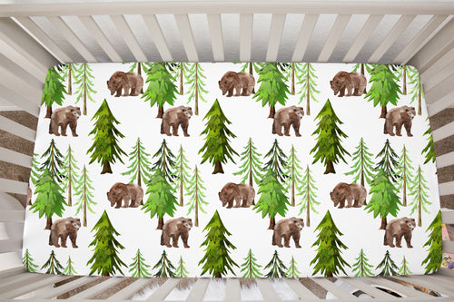 Coniferous Trees and Bear Crib Sheet, Forest Nursery Bedding - Into The Woods