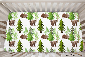 Into The Woods Coniferous Trees and Bear Crib Sheet, Forest Nursery Bedding