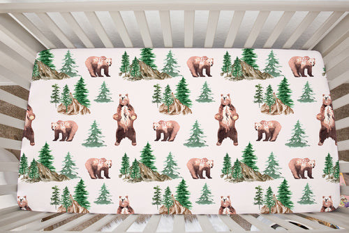 Bear and Trees Minky Crib Sheet, Woodland Nursery Bedding - Grizzly Bear