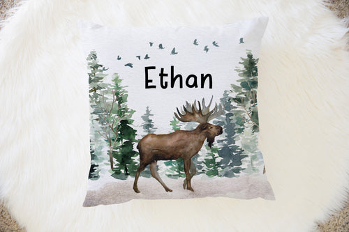 Moose Personalized Pillow, Woodland Nursery Decor - Enchanted Forest