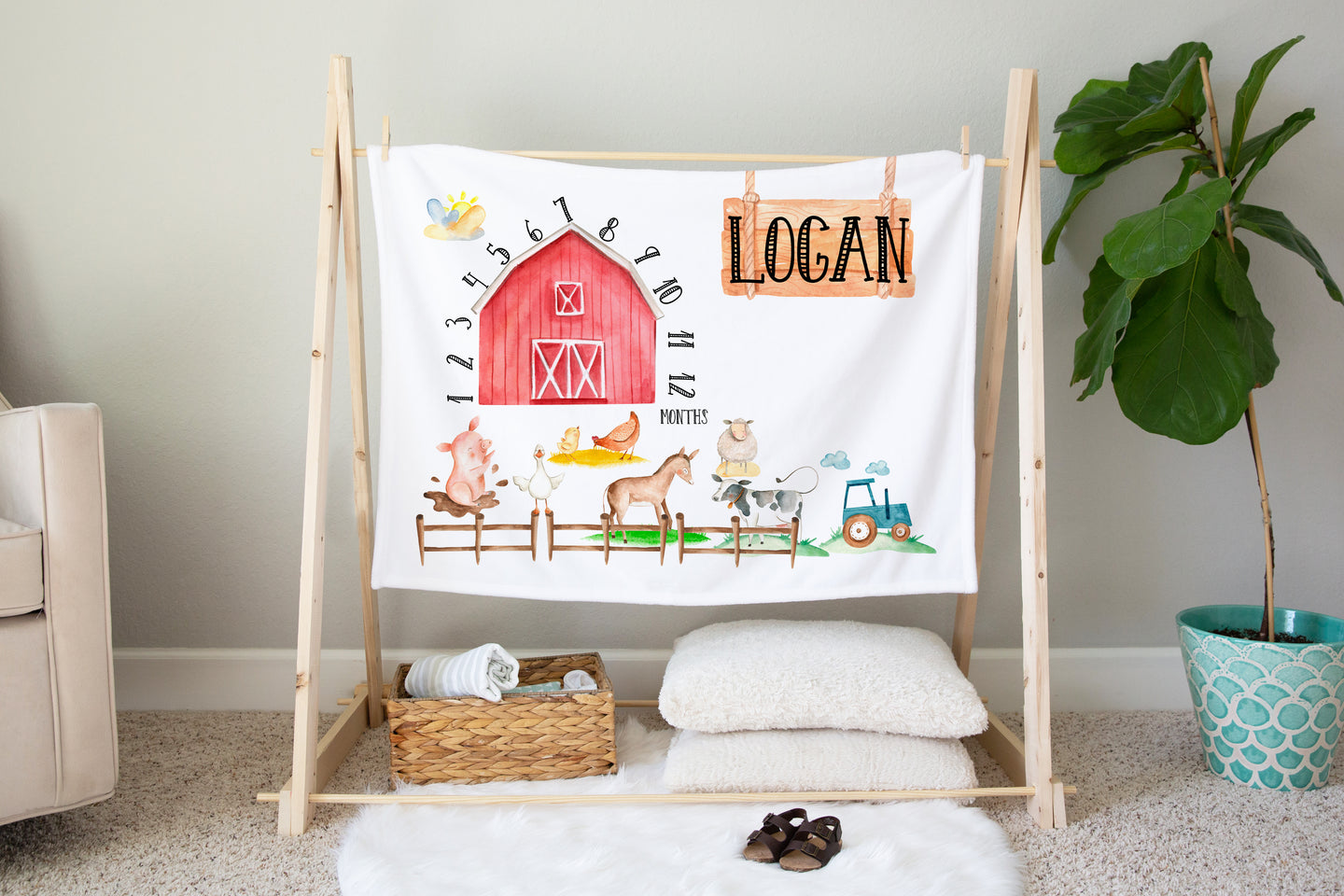 Logan's Farm Milestone Minky Blanket, Farm Nursery Bedding