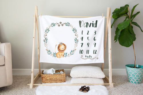 Baby Africa Lion Personalized Milestone Blanket, Safari Nursery Bedding
