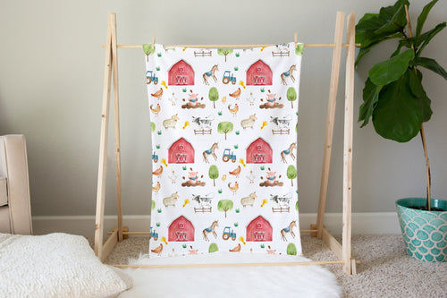 Logan's Farm Barn and Farm Animals Minky Blanket, Farm Nursery Bedding