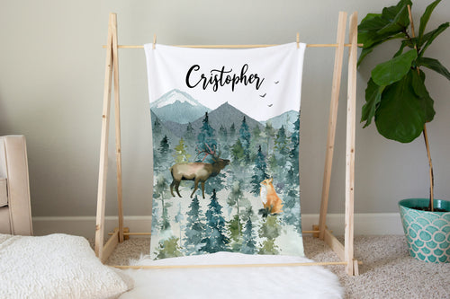 Majestic Forest Personalized Minky Blanket, Forest Nursery Bedding