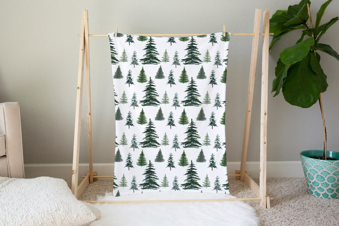 Pine Trees Minky Blanket, Forest Nursery Bedding - The Forest