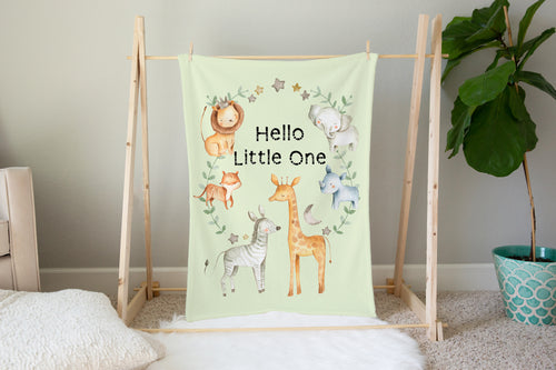 Baby Africa Hello Little One Minky Blanket, Safari Nursery Bedding