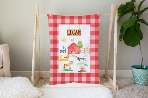Logan's Farm Red Plaid Personalized Minky Blanket, Farm Nursery Bedding