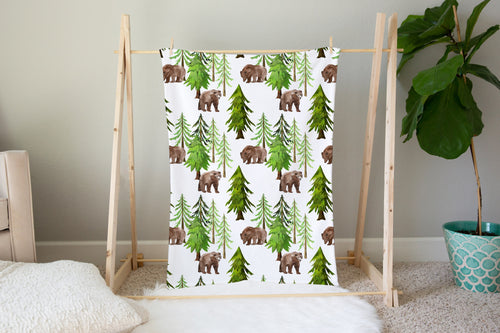 Into The Woods Coniferous Trees and Bear Minky Blanket, Forest Nursery Bedding