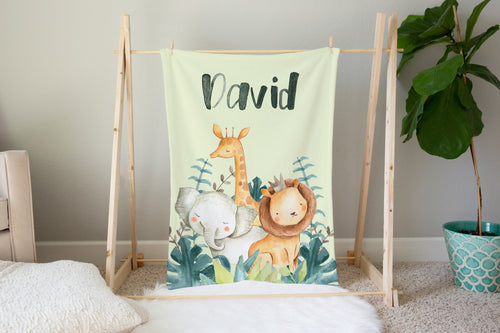 Baby Africa Personalized Minky Blanket, Safari Nursery Bedding