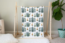 Load image into Gallery viewer, Fox Minky Blanket, Forest Nursery Bedding - Majestic Forest