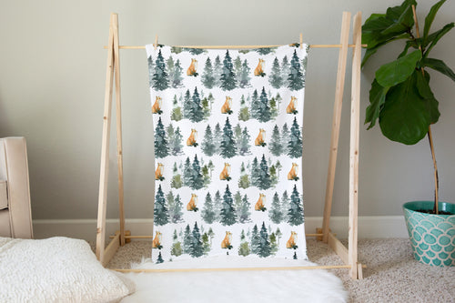 Majestic Forest Fox Minky Blanket, Forest Nursery Bedding