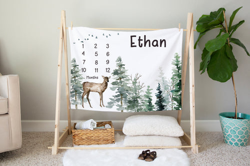 Deer Personalized Milestone Blanket, Woodland Baby Monthly Growth Tracker - Enchanted Forest