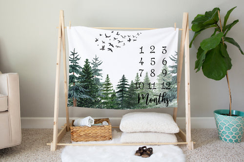 The Forest Milestone Blanket, Forest Nursery Bedding