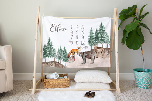 Bear Personalized Milestone Blanket, Woodland Baby Monthly Growth Tracker - Little Explorer