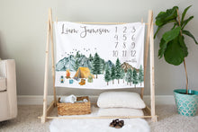 Load image into Gallery viewer, Camping Milestone Blanket, Woodland Nursery Bedding - Little Explorer