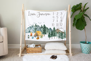 Camping Milestone Blanket, Woodland Nursery Bedding - Little Explorer