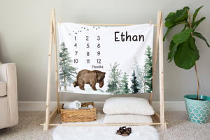 Bear Personalized Milestone Blanket, Woodland Baby Monthly Growth Tracker - Enchanted Forest