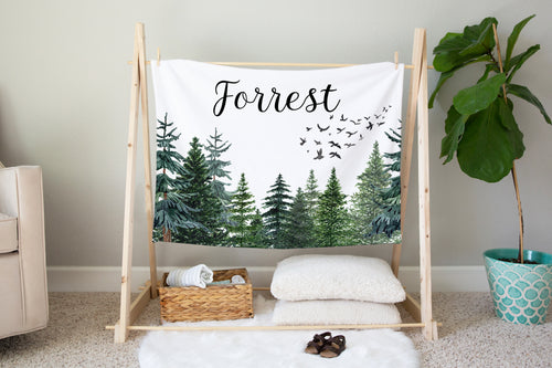 Forest Personalized Minky Blanket, Woodland Nursery Bedding - The Forest