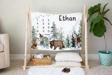 Load image into Gallery viewer, Woodland Animals Milestone Blanket, Forest Baby Monthly Growth Tracker - Enchanted Forest