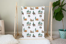 Load image into Gallery viewer, Woodland Minky Blanket, Forest Nursery Bedding - Little Explorer