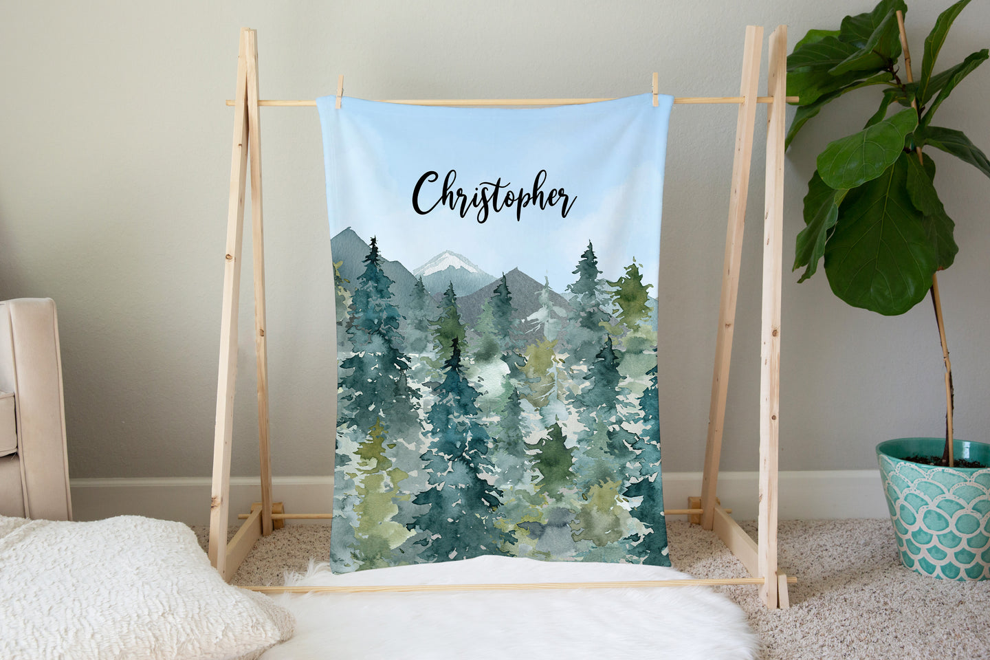 Majestic Forest Blue Sky Personalized Minky Blanket, Forest Nursery Bedding