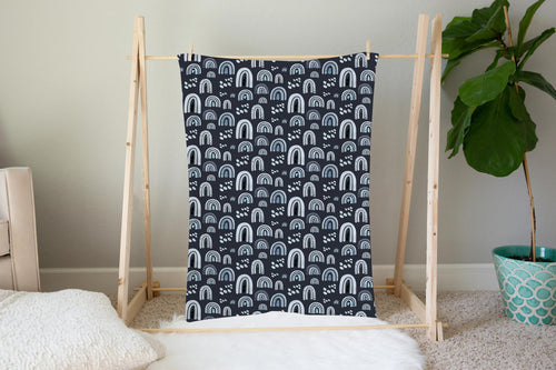 Blue Rainbow Minky Blanket | Rainbows Nursery Bedding