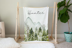 Forest Personalized Minky Blanket, Woodland Nursery Bedding - Wild Green