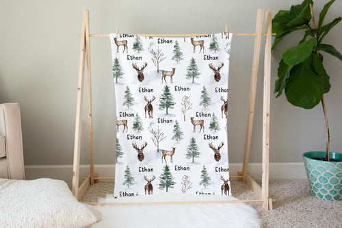 Deer Personalized Minky Blanket, Woodland Nursery Bedding - Enchanted Forest