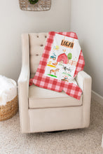 Load image into Gallery viewer, Logan's Farm Red Plaid Personalized Minky Blanket, Farm Nursery Bedding