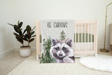 Load image into Gallery viewer, Be Curious Minky Blanket, Raccoon Nursery Bedding - Wild Woodland