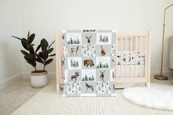 Woodland Minky Blanket, Forest Nursery Bedding - Enchanted Forest