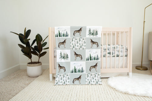 Wolf Minky Blanket, Woodland Nursery Bedding - Enchanted Forest